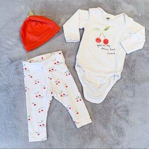 H&M Baby Girl Cherry Hat Onesie Pant Set 4-6M